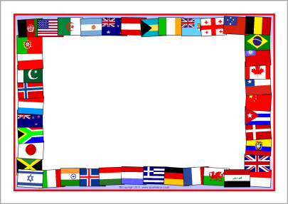 Flags of the world A4 page borders (SB5827) SparkleBox