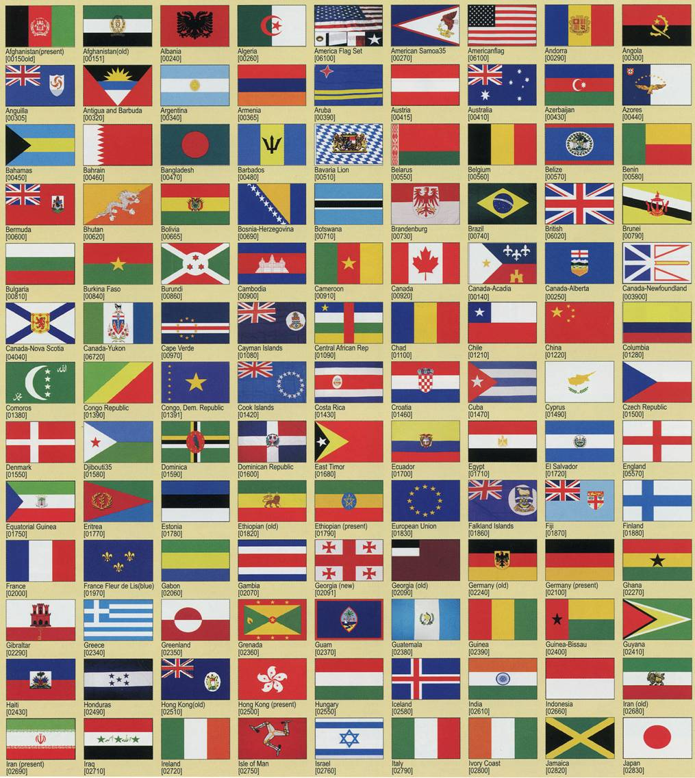 This is an image of Slobbery Printable Country Flags