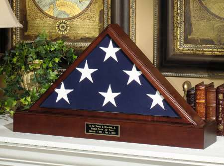 American made Veteran Flag Display Case box Set Engraved Pedestal
