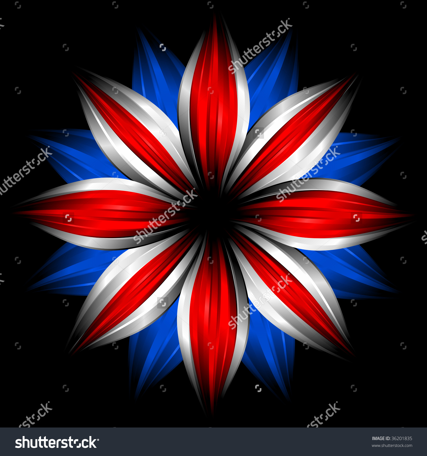 Flower British Flag Colors On Black Stock Illustration 36201835