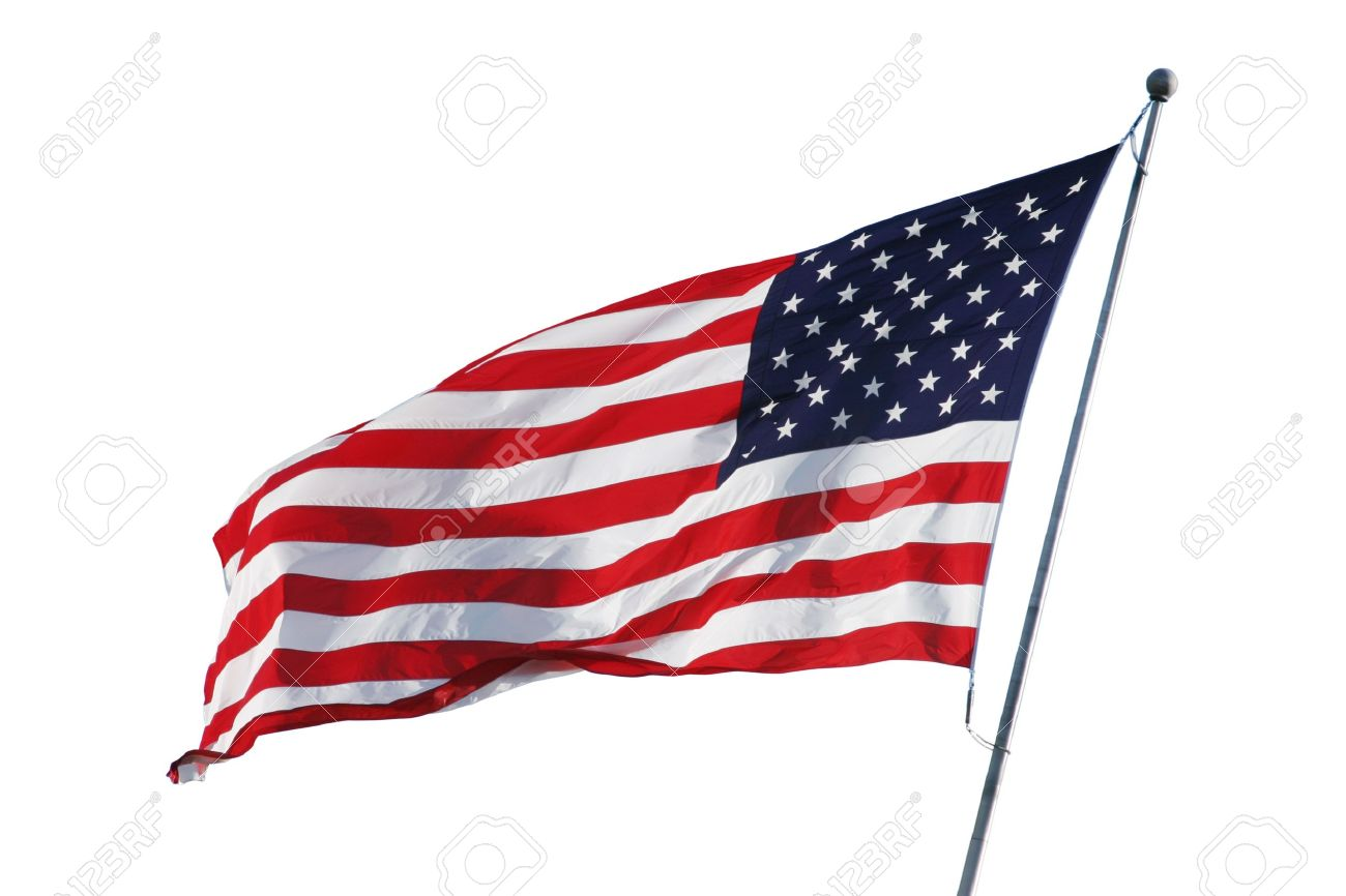 An American Flag Flying In The Breeze Isolated On White Stock