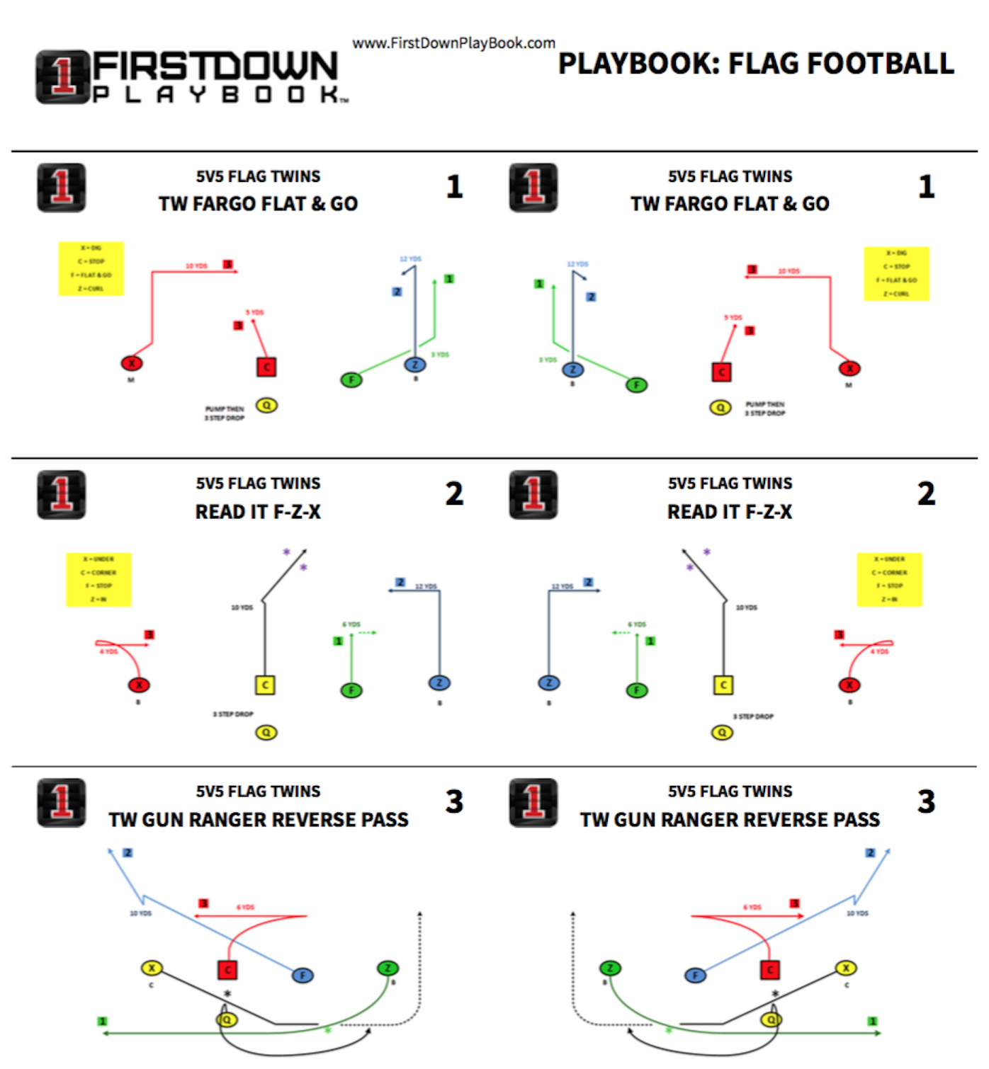 Flag Football Plays – playbooks for youth and adults