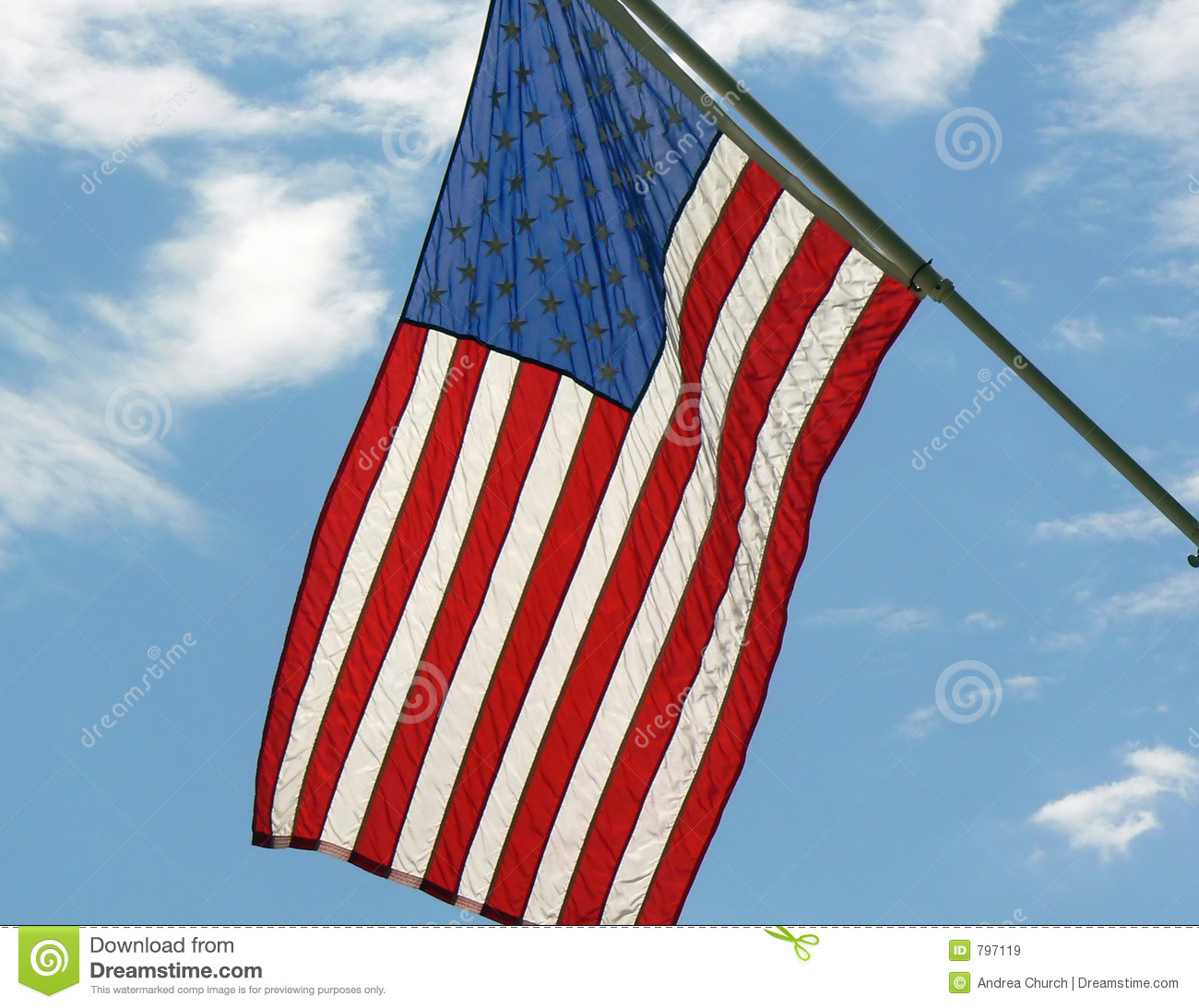 American Flag Hanging From Staff Royalty Free Stock Images Image