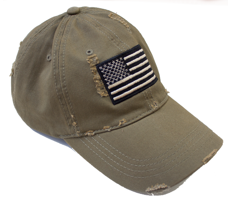 Distressed American Flag Hat (OD Green) | American Extreme Apparel