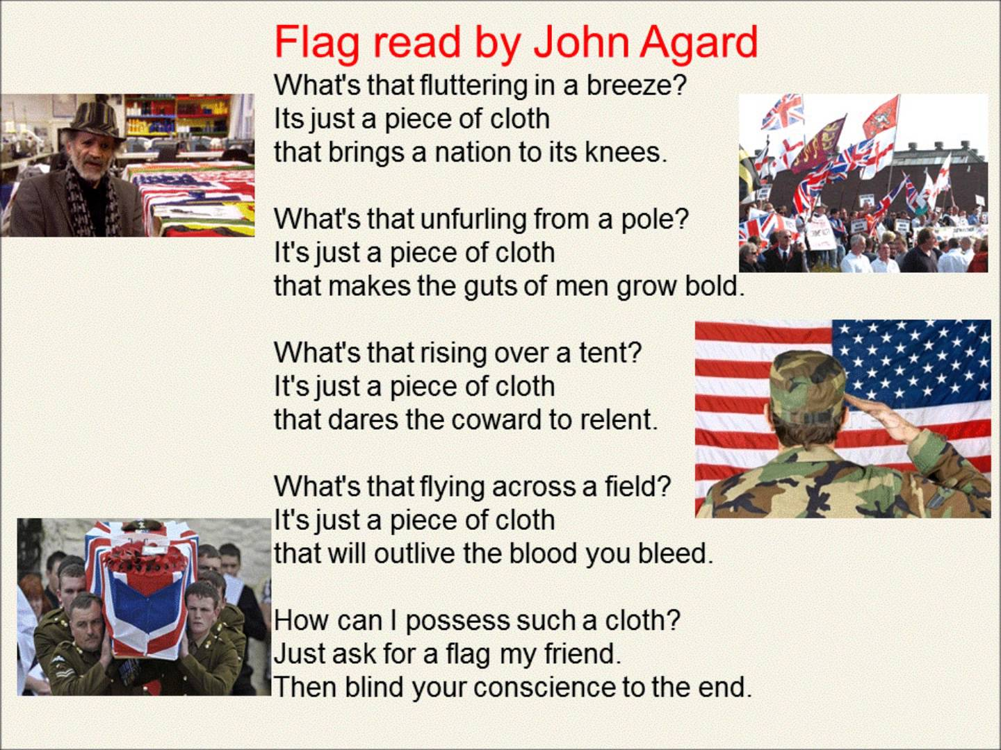 Flag read by John Agard (AQA Conflict Anthology) YouTube