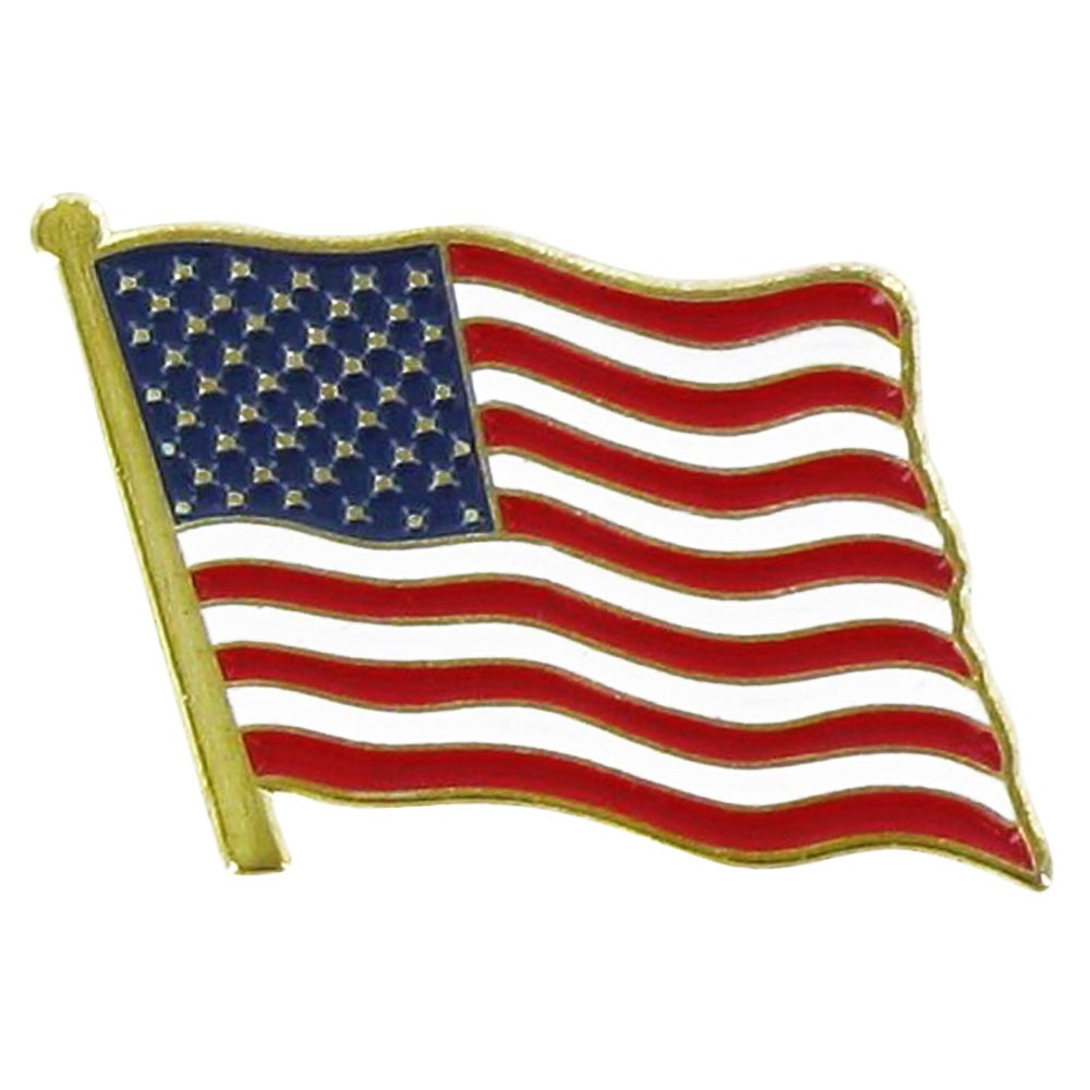 USA Flag Lapel Pin Standard Flag A Series 2 with Shorter Pole