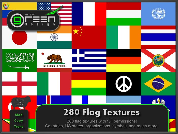Second Life Marketplace ●GD● 280 Flag Textures [Full Perm