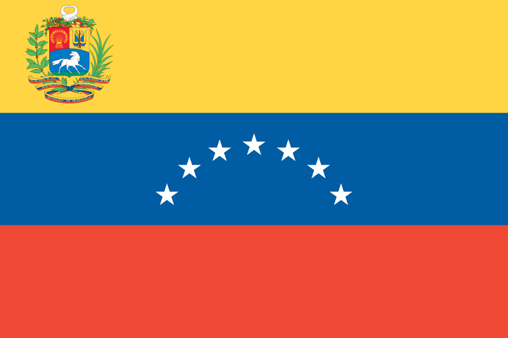 Closeup Cropped View Of A Fluttering National Flag Of Venezuela