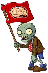 I want your BRAINS!!! Plants vs. Zombies Flag Zombie Costume Image