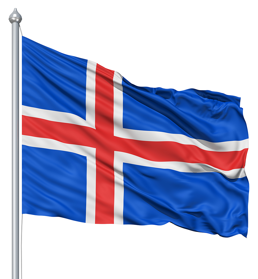 The official flag of the Iceland
