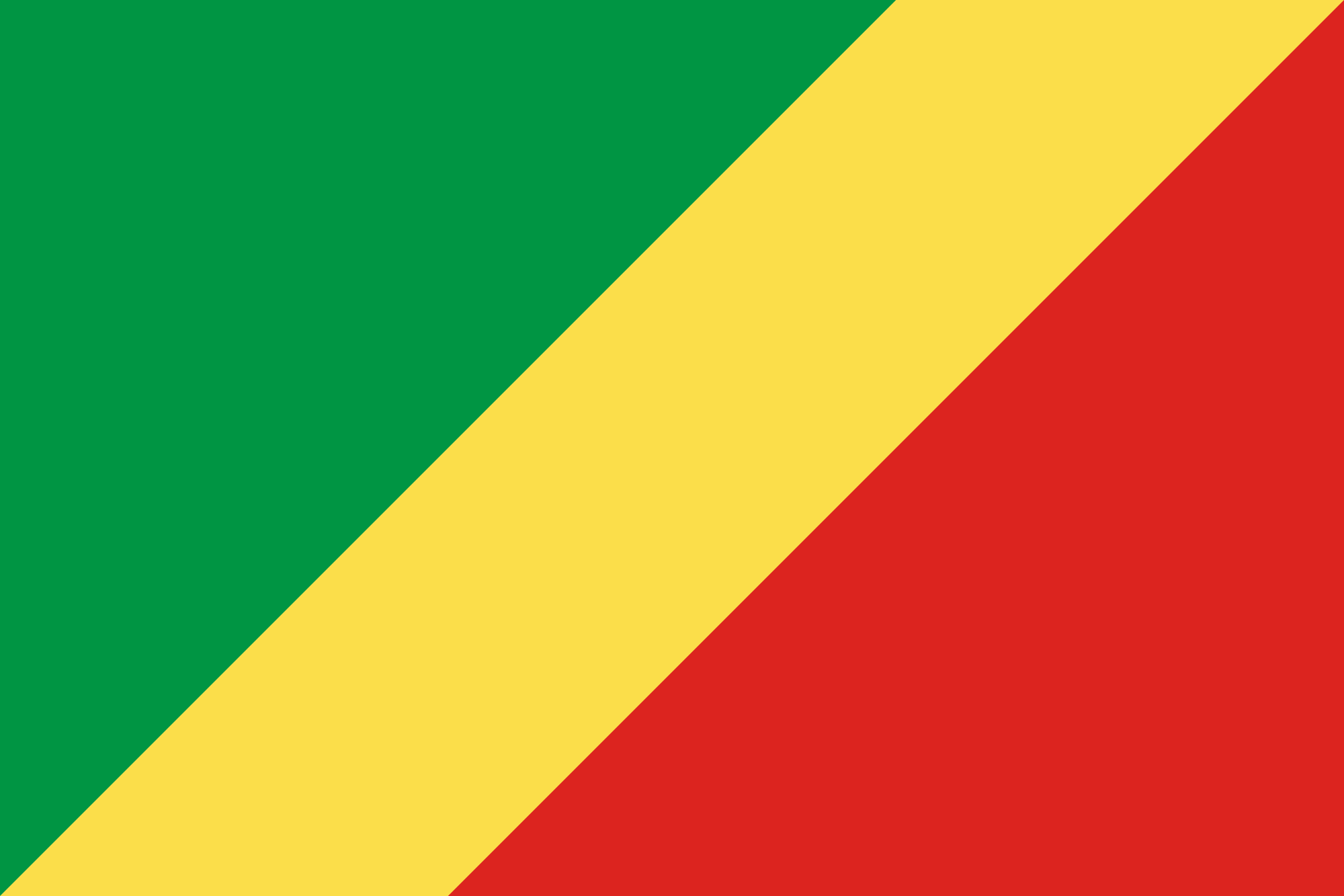 The official flag of the Republic of the Congo