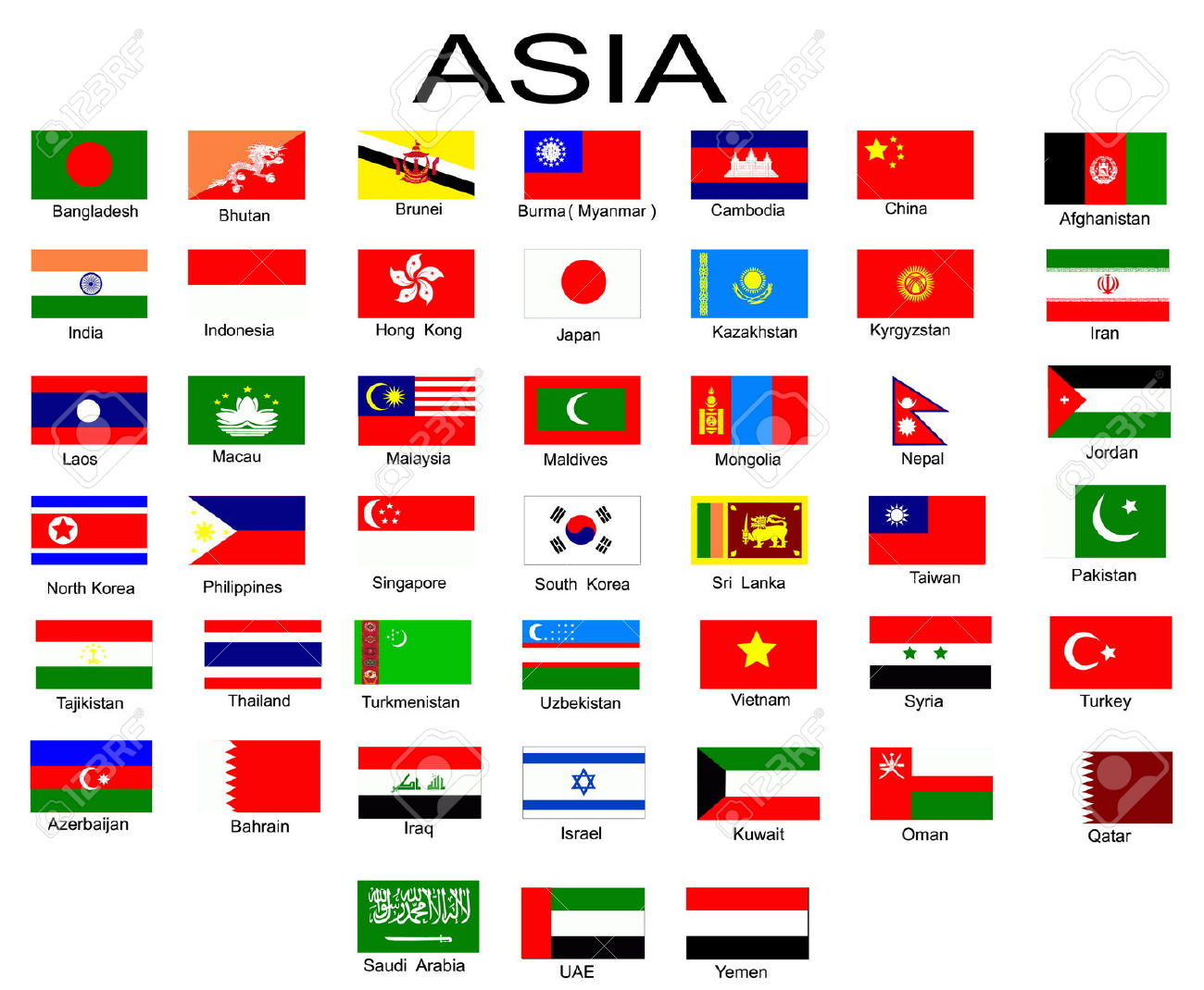 List Of All Flags Of Asian Countries Stock Photo, Picture And