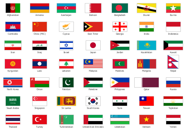 Design elements Asia flags