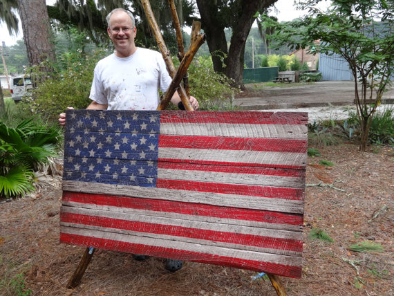 Giant Size Wooden American Flag. 3x5 foot Beauty Coming In At