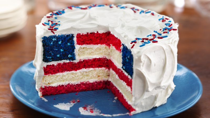 Red, White and Blue Layered Flag Cake Recipe BettyCrocker.com