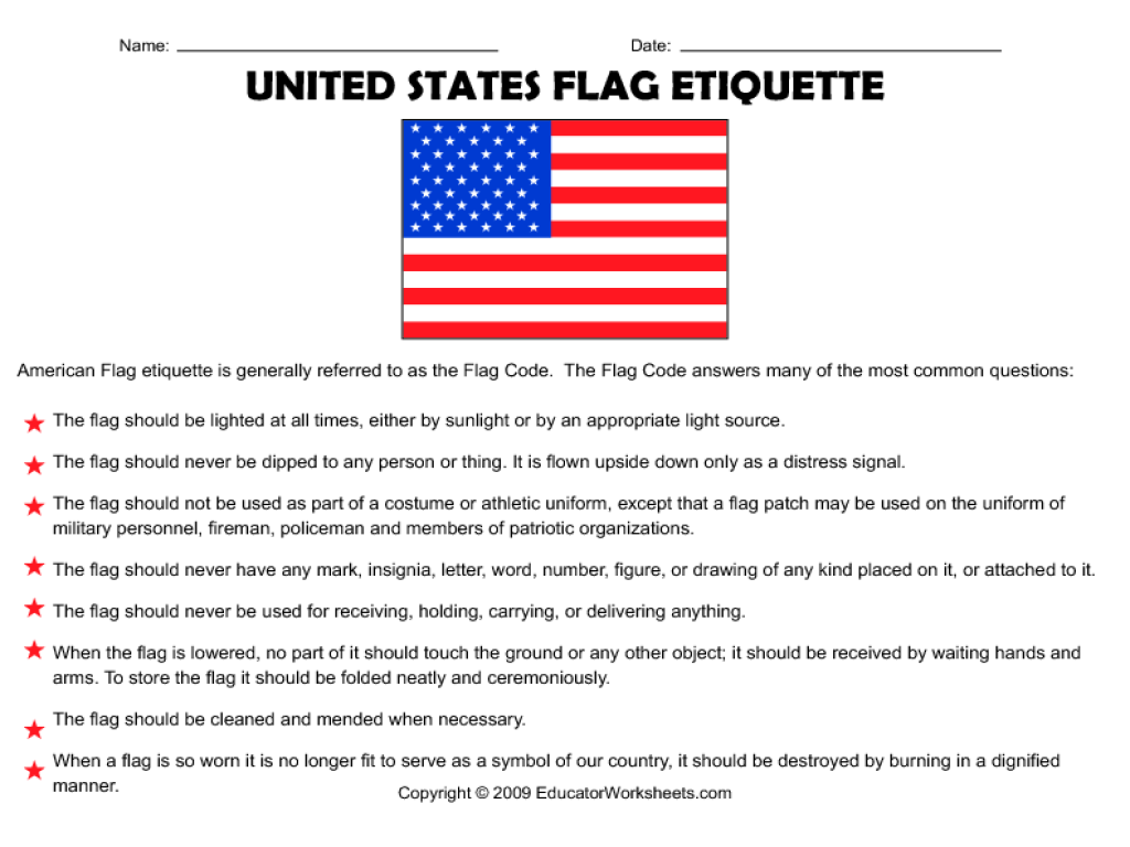 United States Flag Etiquette 4th 8th Grade Worksheet | Lesson Planet