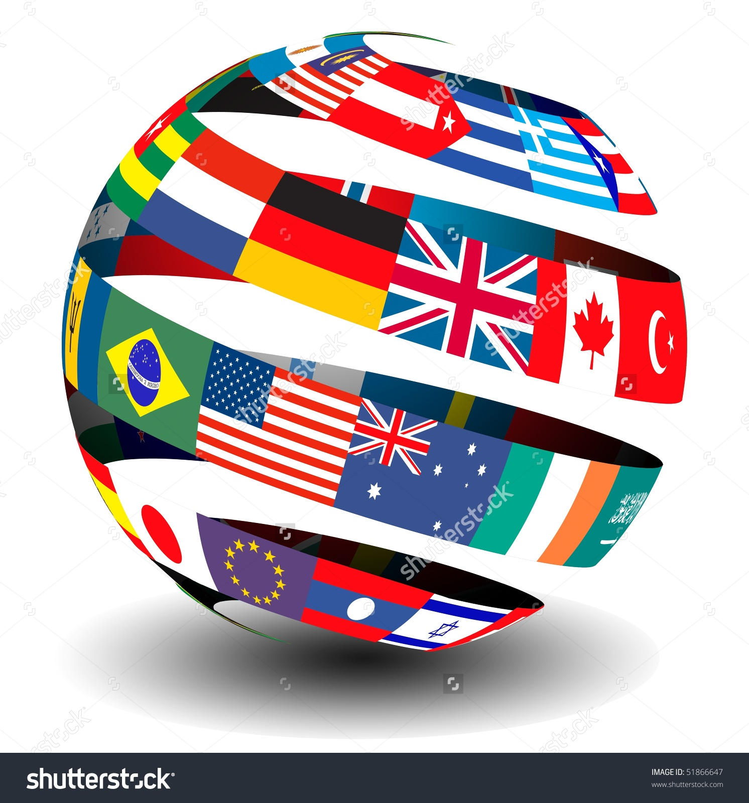 Flag Spiral Globe Stock Illustration 51866647 Shutterstock