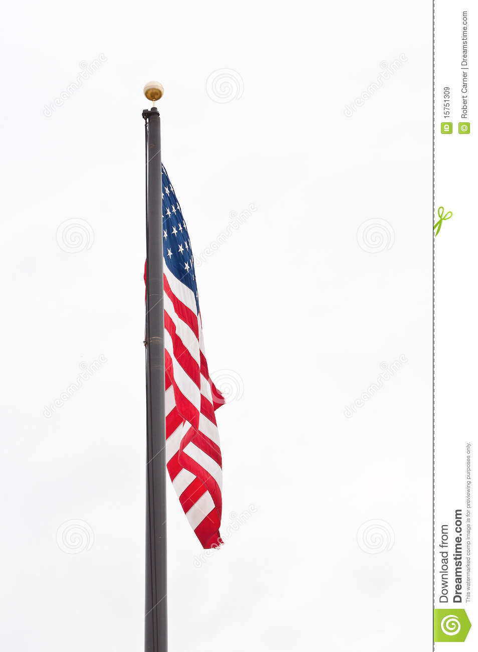 Waving american flag hanging on a pole clipart ClipartFest