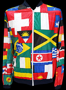 Mens Vintage Clothing WANTED Tyvek Global Flag Jacket L @ Monster