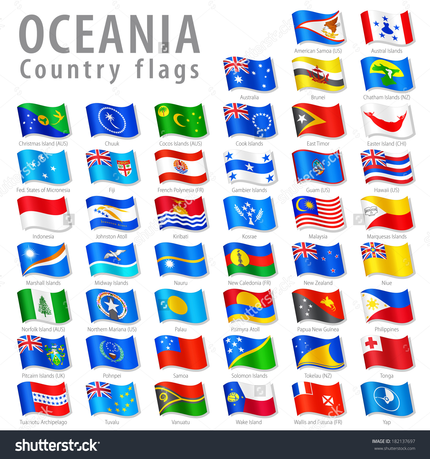 Vector Collection All Oceanic National Flags Stock Vector