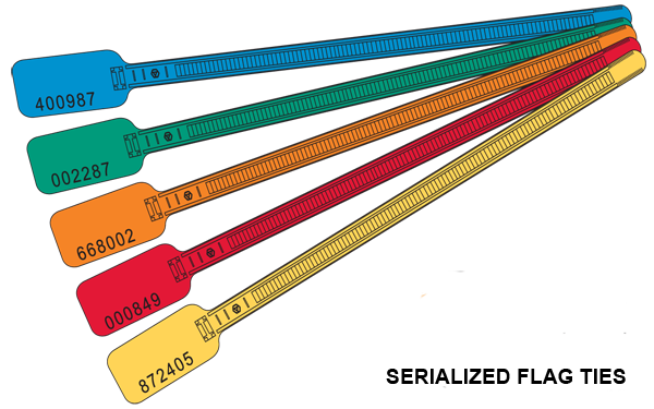 Serialized Numbered Identification Zip Ties