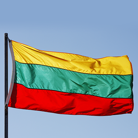 The official flag of the Lithuania