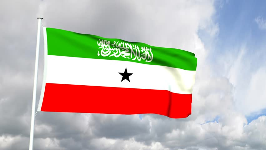 Somaliland Flag Waving In Slow Motion Against Blue Sky, Seamlessly